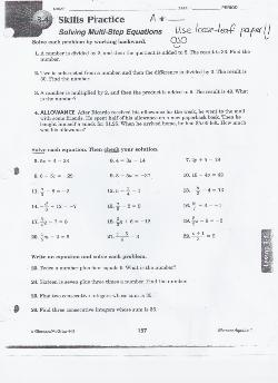 Assignment # 26 Worksheet Practice Multi-steps Page 157 Problems 1-4 all 5-22 odds or evens and 23-26 all